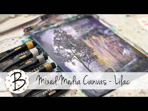 Mixed Media Canvas - Lilac Pressed Flower