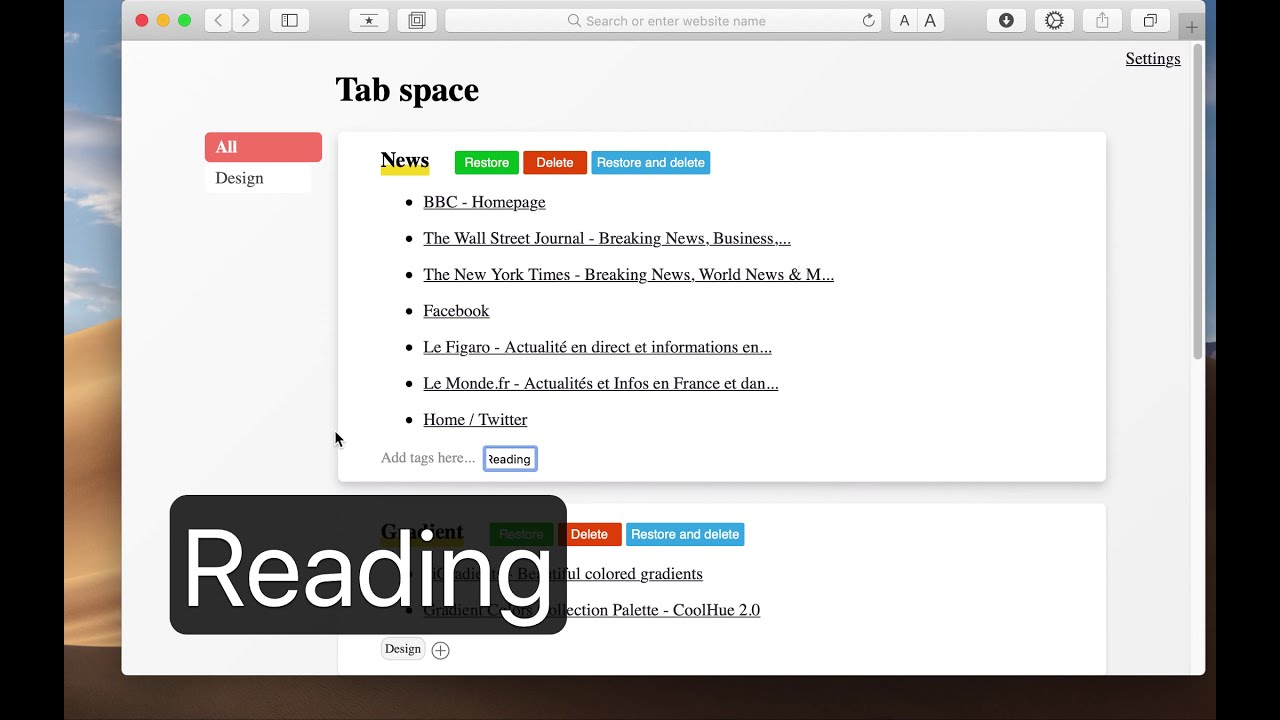 Tab Space - Improve your web browsing productivity with