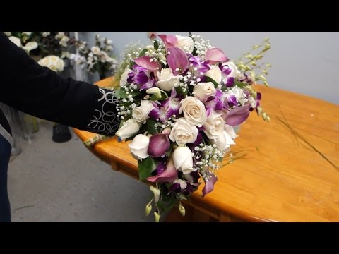 How To Make A Cascading Bridal Bouquet With Roses Orchids And Calla Lilies