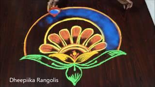 New year special colour rangoli design * Happy new year muggulu 2019 * new year kolam