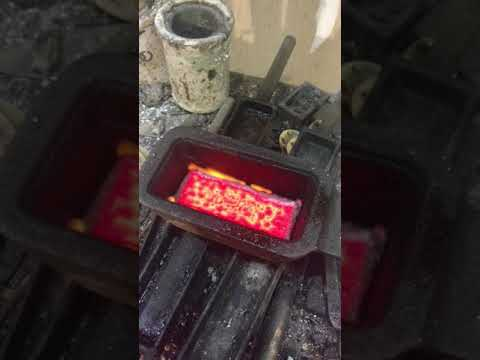 Melting and pour casting a gold dore bar