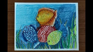 How to paint colorful fish in water with Oil Pastels | Easy Painting Series for Kids