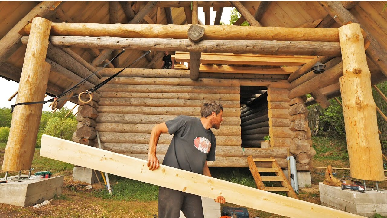 Building Off Grid Log Cabin The Roof Is Done S 2 Ep 13 Youtube
