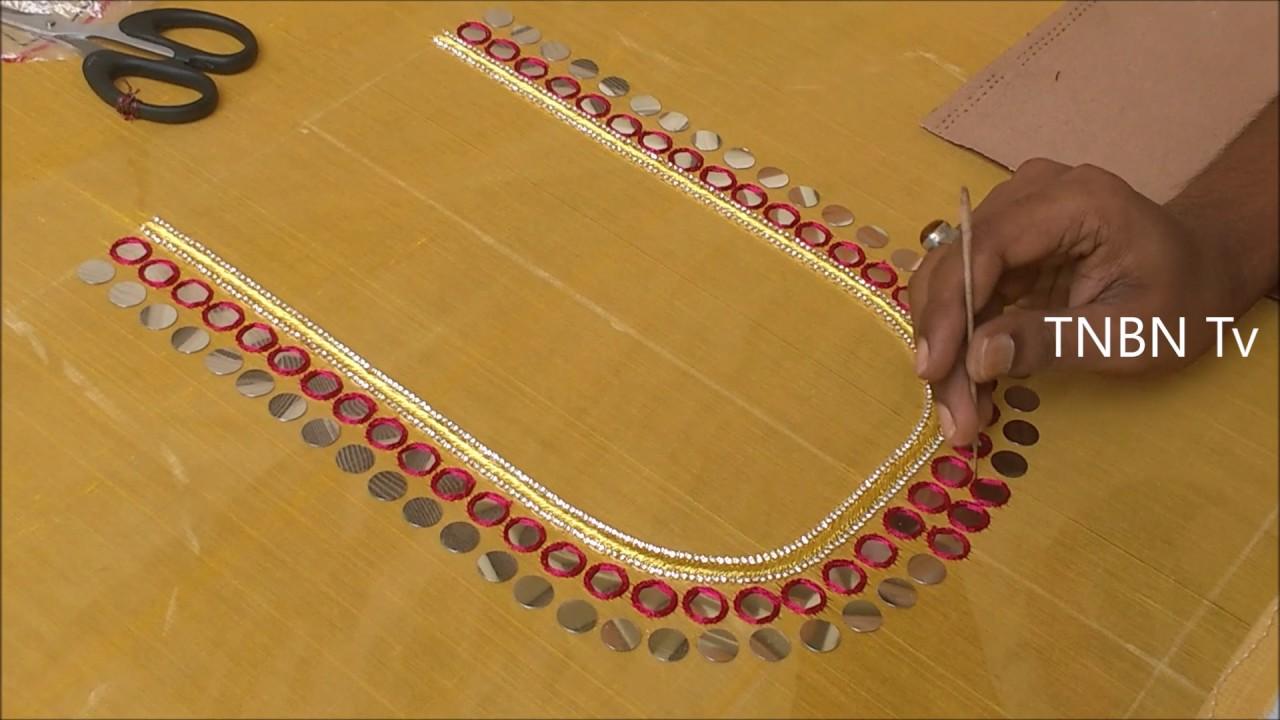 Simple maggam work blouse designs mirror