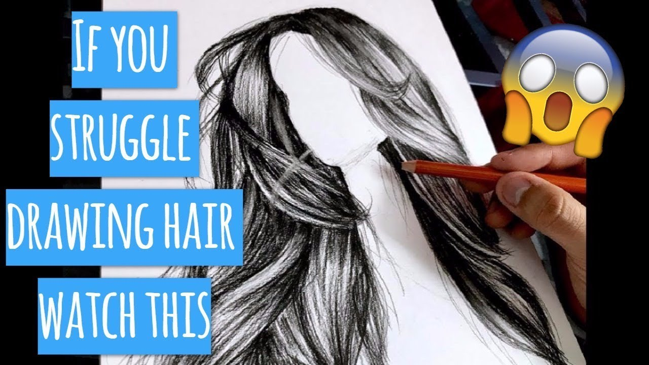 How To Draw Realistic Hair - Live Tutorial - REAL time - BEST Tutorial - YouTube