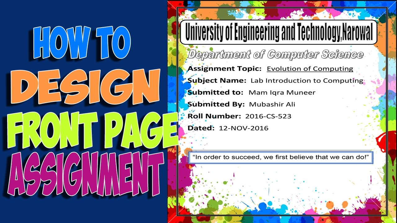 how to design front page of your first assignment bscs