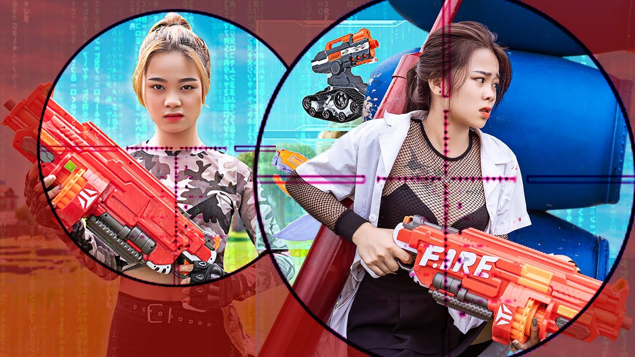 Pink Girl Nerf War: Darts Win Food Prank Battle Nerf & Ms.Lily Nerf Guns Fight Crime Of Taking Food