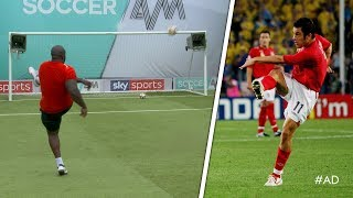 Akinfenwa tries to recreate Joe Cole's INCREDIBLE volley against Sweden!   World Cup Challenge
