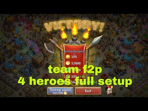 Dungeon 6.10 - Team F2p 4 Heroes. Full Setup - Castle Clash