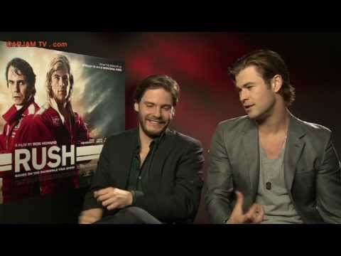 Chris Hemsworth Sexy Funny Interview Daniel Bruhl RUSH Movie 2013 Niki Lauda Carjam TV HD