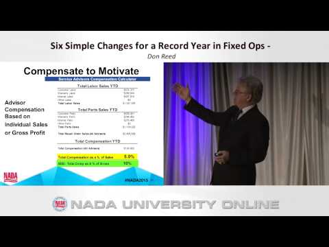 Don Reed at the NADA Conference 2015 - Six Simple Changes for a Record Year in Fixed Ops
