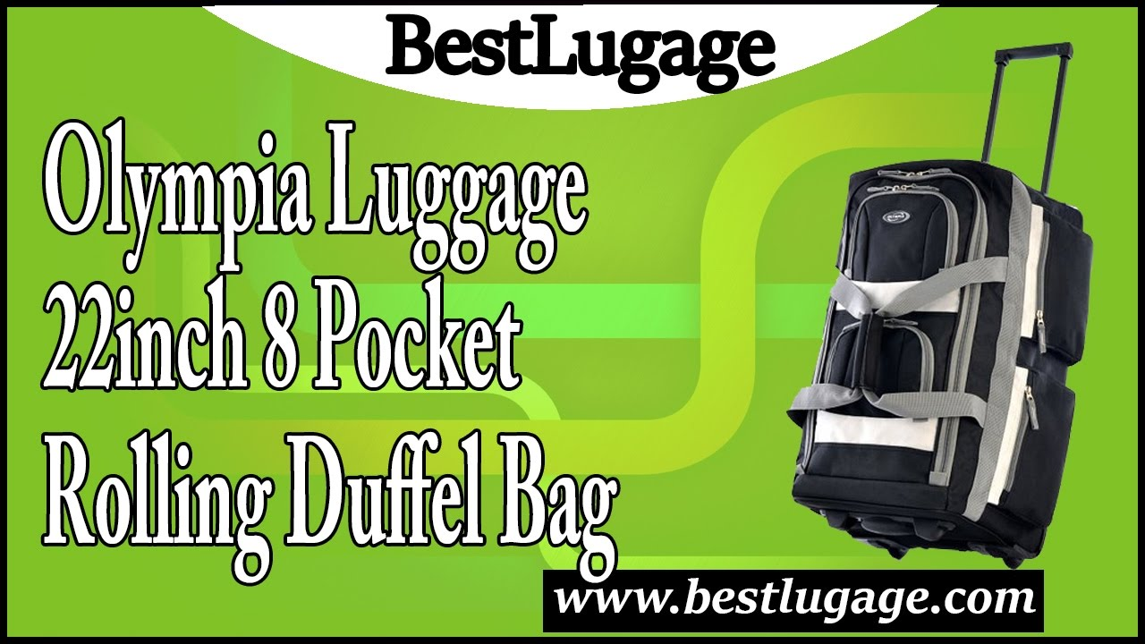3713bb596c Olympia Luggage 22″ 8 Pocket Rolling Duffel Bag Review - YouTube