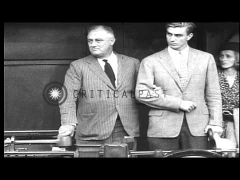 US President Franklin D. Roosevelt speaks to a crowd during his drought inspectio...HD Stock Footage