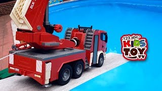 Many large cars bruder in the pool Dump truck, Concrete mixer, Garbage truck Educational Videos