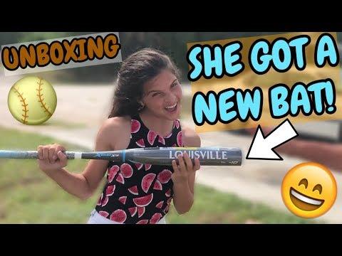 Unboxing Her New Softball Bat!