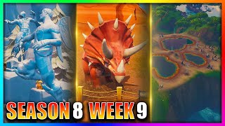 """Dance Between Three Ice Sculptures, Three Dinosaurs & Four Hot Springs"" Fortnite: Season 8 Week 9"