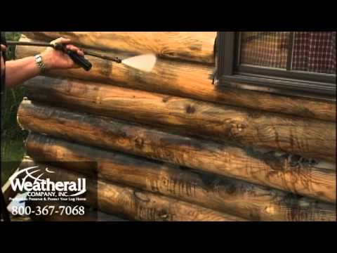 Cleaning your logs prior to log home stains youtube for How to stain log cabin