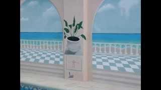 Imagenes Trampantojo de terraza con vistas al mar, Losadart Pintura decorativa.
