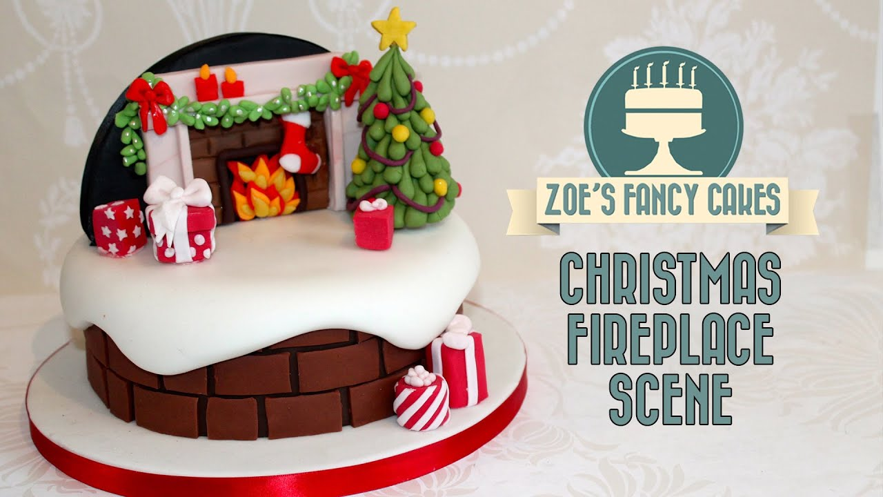 Christmas fireplace backdrop cake decorating snow theme ...