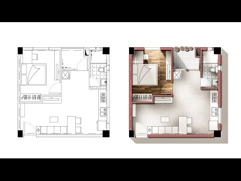 Architecture plan render by photoshop - YouTube