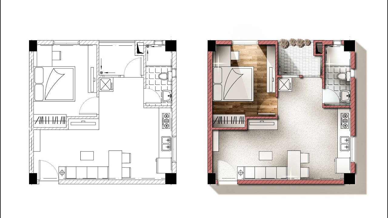 Architecture plan render by photoshop youtube Rendering floor plans