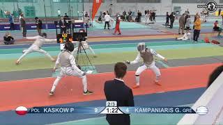 2018 1234 T128 M F Individual Halle GER European Cadet Circuit RED KAMPANIARIS GRE vs KASKOW POL