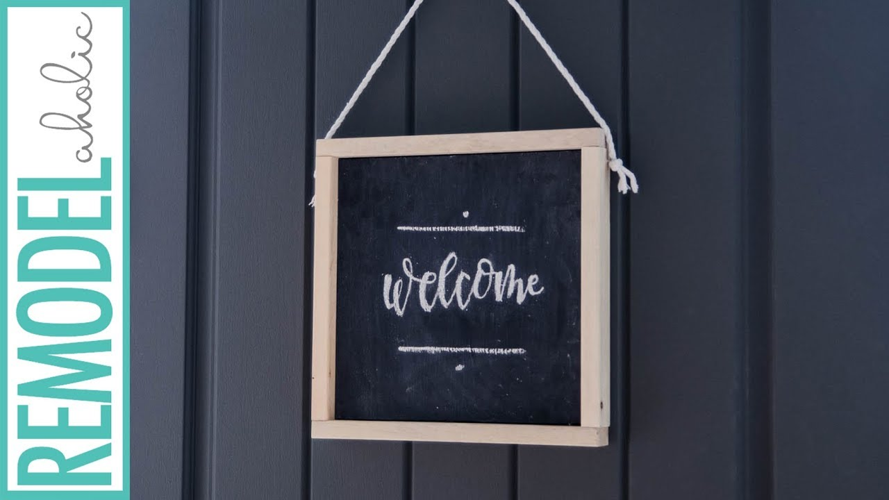 How To Make An Easy Wooden Chalkboard Welcome Sign Youtube