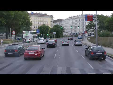 riding in Vienna from Schönbrunn Palace to Viking dock in narrated Viking tour bus (1 of 2)