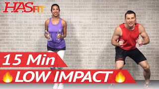15 Min Low Impact Aerobics - Quiet Cardio Workout for Beginners with No Jumping - Easy Exercises