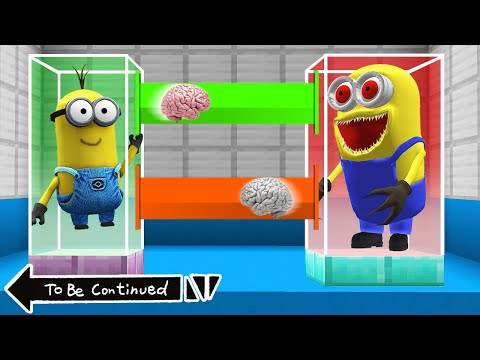 BRAIN EXCHANGE MINION vs SCARY MINION in MINECRAFT ! WHAT'S INSIDE MINIONS - Gameplay Movie traps
