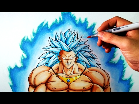 Cómo Dibujar A Broly SSJ3 Dios Azul   Dragon Ball   ArteMaster