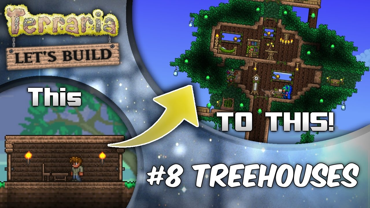 Terraria 13 Lets Build Ep8 Giant Treehouses Terraria House Design Tutorial