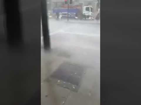 Gales and heavy rain from Storm Doris in London, UK