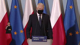 Konferencja premiera Mateusza Morawieckiego, Jarosława Gowina, Adama Niedzielskiego - 21-11-20 r.