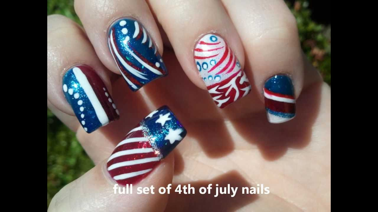 red, white, blue nail art - YouTube