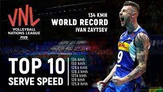 TOP » 10 Serve (Ace) Speed | New World Record 134 Km/h | Volleyball Nations League 2018