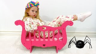 Nastya and her new princess carriage bed