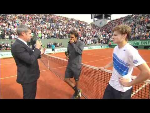 Roger Federer & David Goffin Post-match Court interview