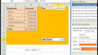 Excel Magic Trick 490: Conditional Format for Budget Less Than $500.