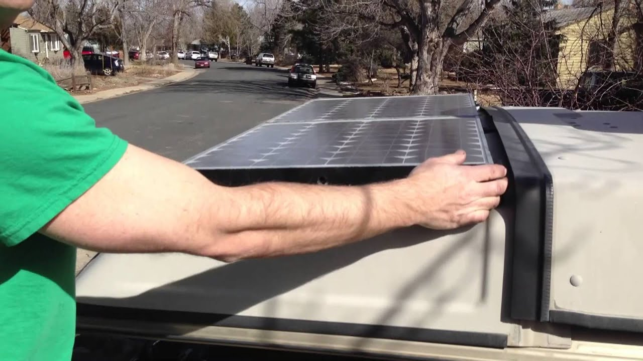 Solar Panels on a Westfalia Luggage Rack - YouTube