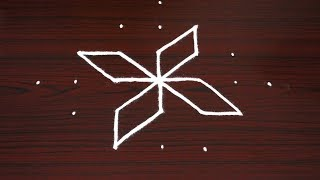 How to draw simple flower kolam | Cute and small rangoli designs | muggulu with 7^1 dots