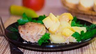 Курица в утятнице в духовке с картошкой