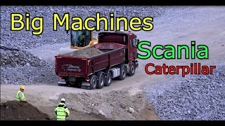 Scania truck vs Volvo 210B Excavator Big Machines at work Caterpillar 324D Excavator