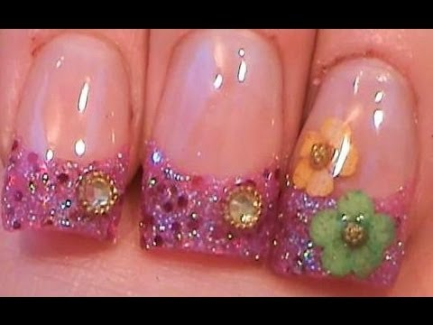 Acrylic Nails Tutorial - Dried flowers - YouTube