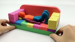 How To Make Rainbow Human VS Sofa Bed Toys Learn Colors Kinetic Sand Nursery Rhymes Song For Kid