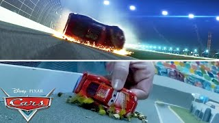 Lightning McQueen's Crash Scene   SIDE BY SIDE Toy Play   Pixar Cars