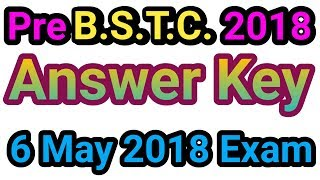 Pre BSTC 2018 Answer Key Hindi// 6 may 2018 BSTC Exam Paper With Answer key