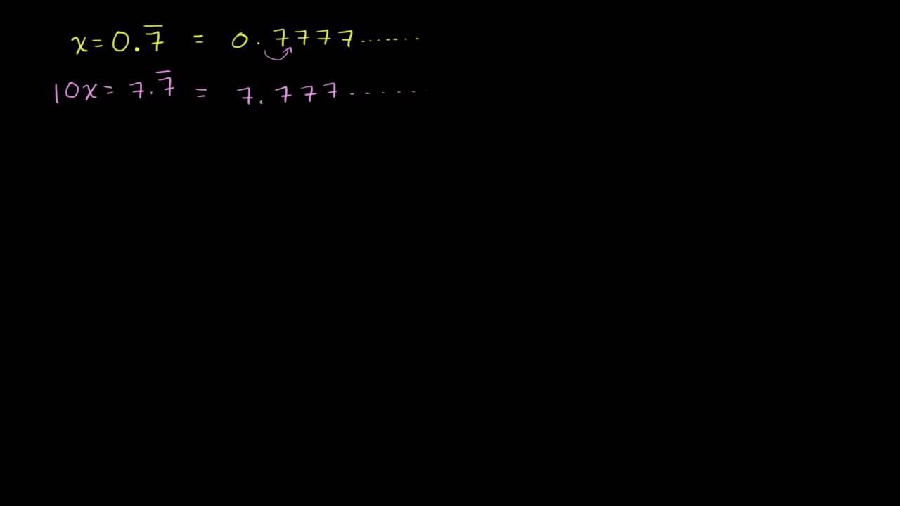 Omskrivning af uendelige periodiske decimaltal til brøker 1