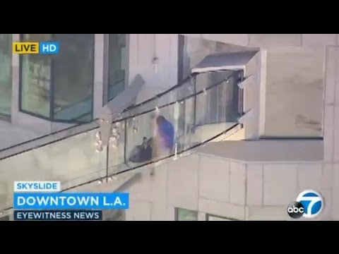SkySlide Glass Slide US Bank Los Angeles AMAZING NEW ATTRACTION Good Morning America