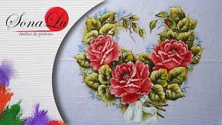 Coração com Rosas em Tecido